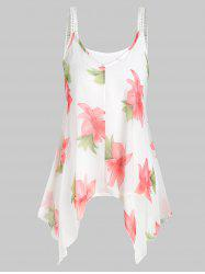 Plus Size Camisole and Floral Handkerchief Tank Top -