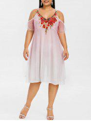 Plus Size Cold Shoulder Embroidered Empire Waist Dress -