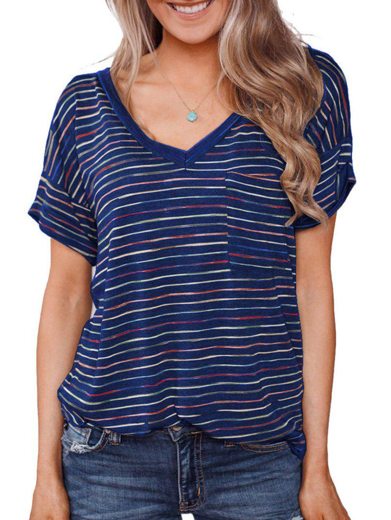 Striped Rolled Sleeves Pocket T-shirt