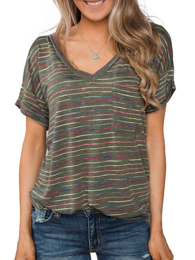 Discount Striped Rolled Sleeves Pocket T-shirt