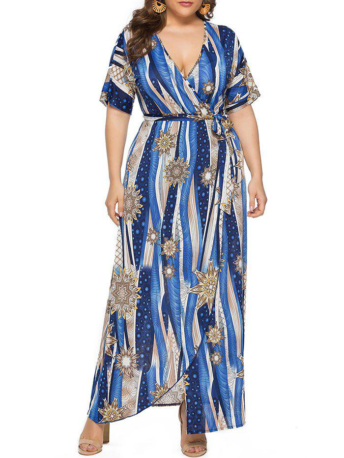 3b0782d7fe4 27% OFF  Plus Size Front Slit Printed Maxi Surplice Dress