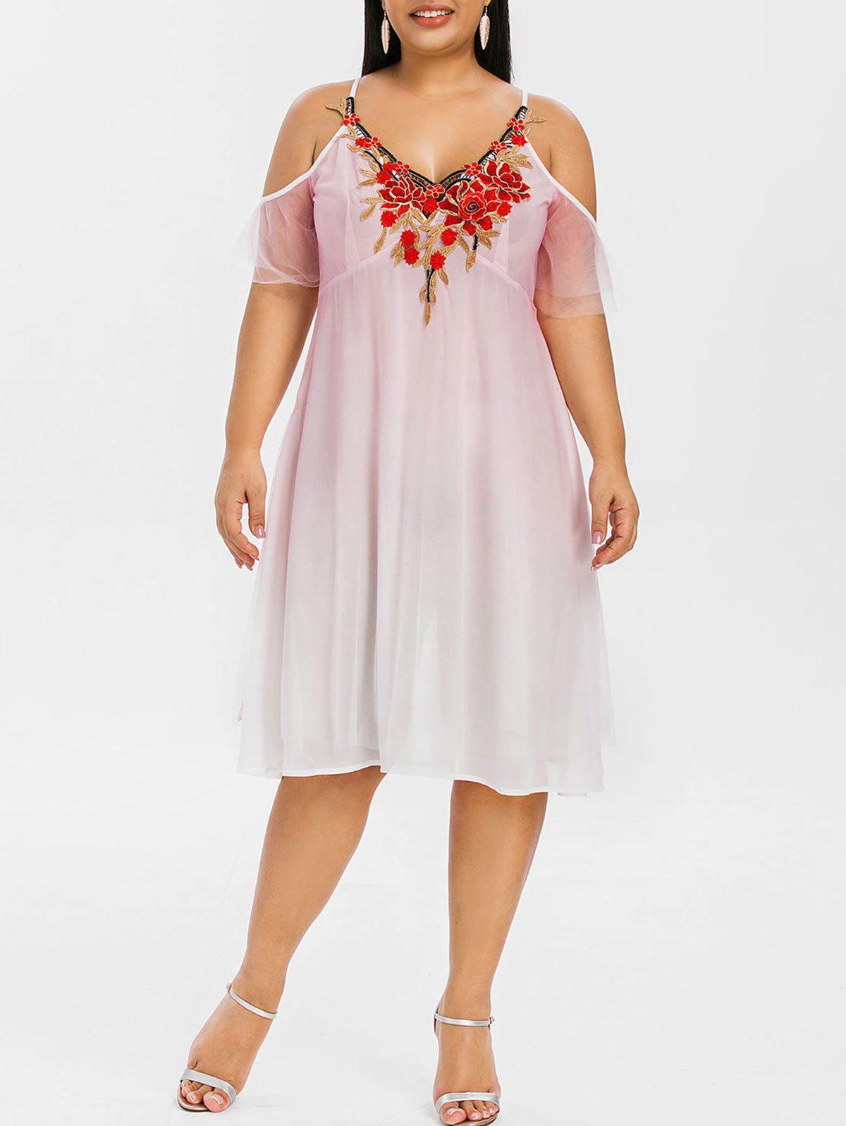 Buy Plus Size Cold Shoulder Embroidered Empire Waist Dress