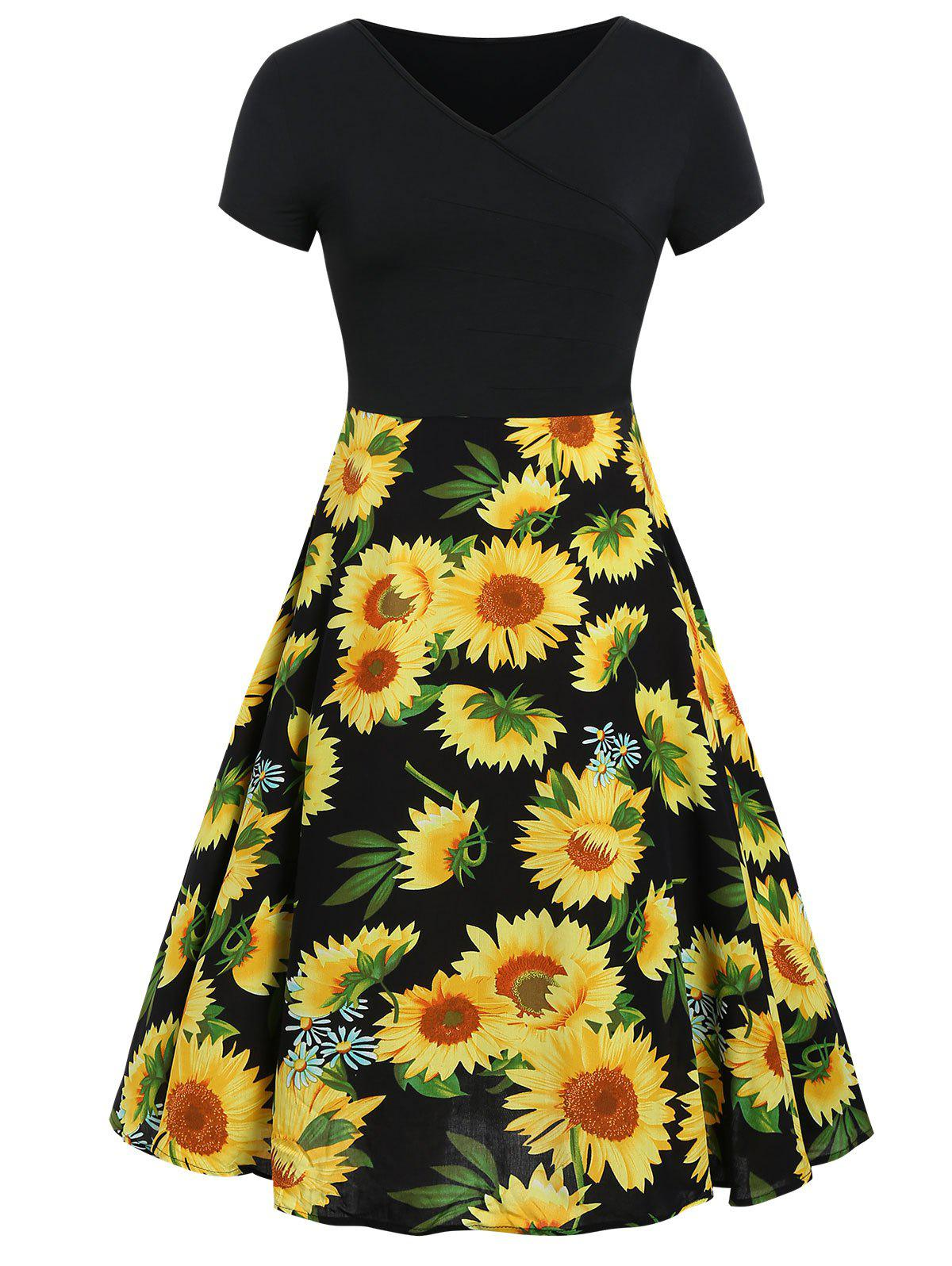 Trendy Plus Size Sunflower Print V Neck Dress