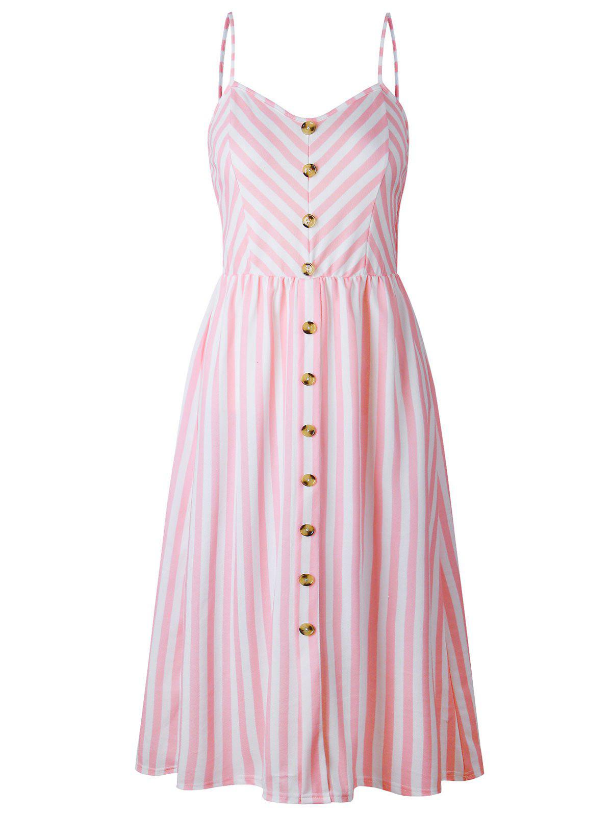 Latest Buttoned Striped Spaghetti Strap Dress