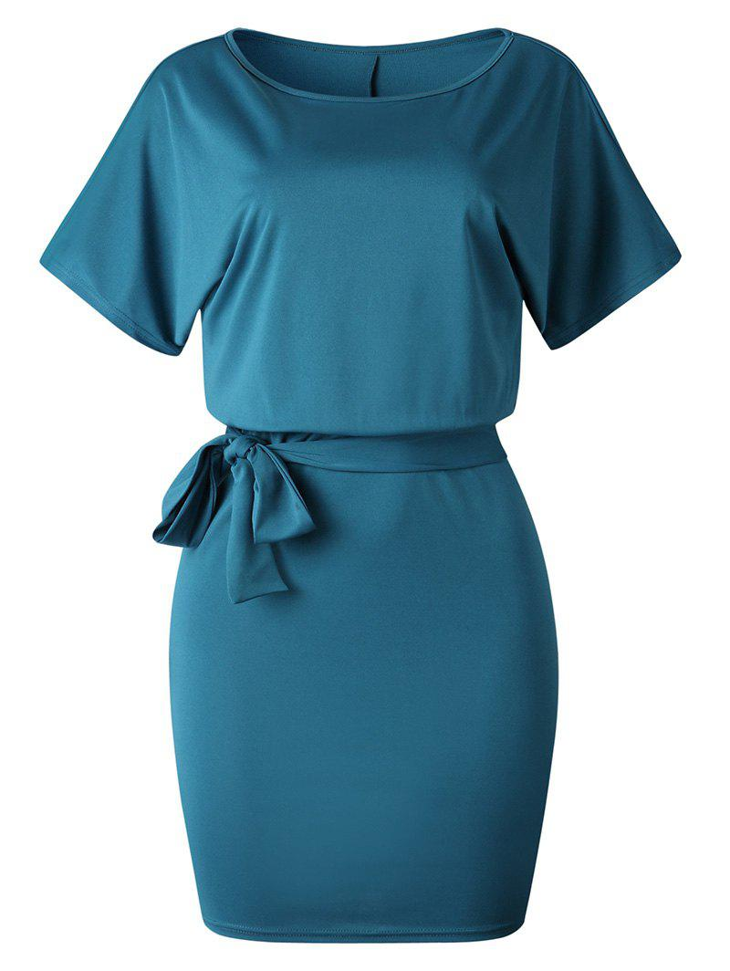 Hot Knee Length Belted Tight Dress