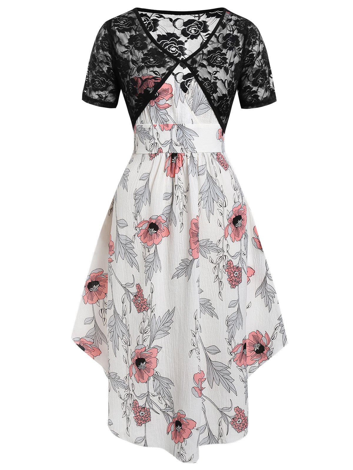 Chic Plus Size Floral Midi Dress With Lace Top Twinset