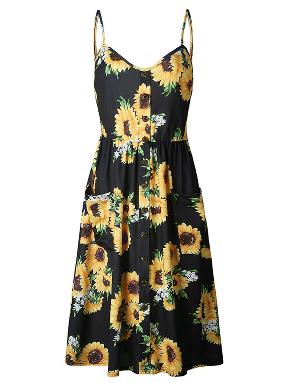 Online Buttoned Sunflower Cami Pocket Dress