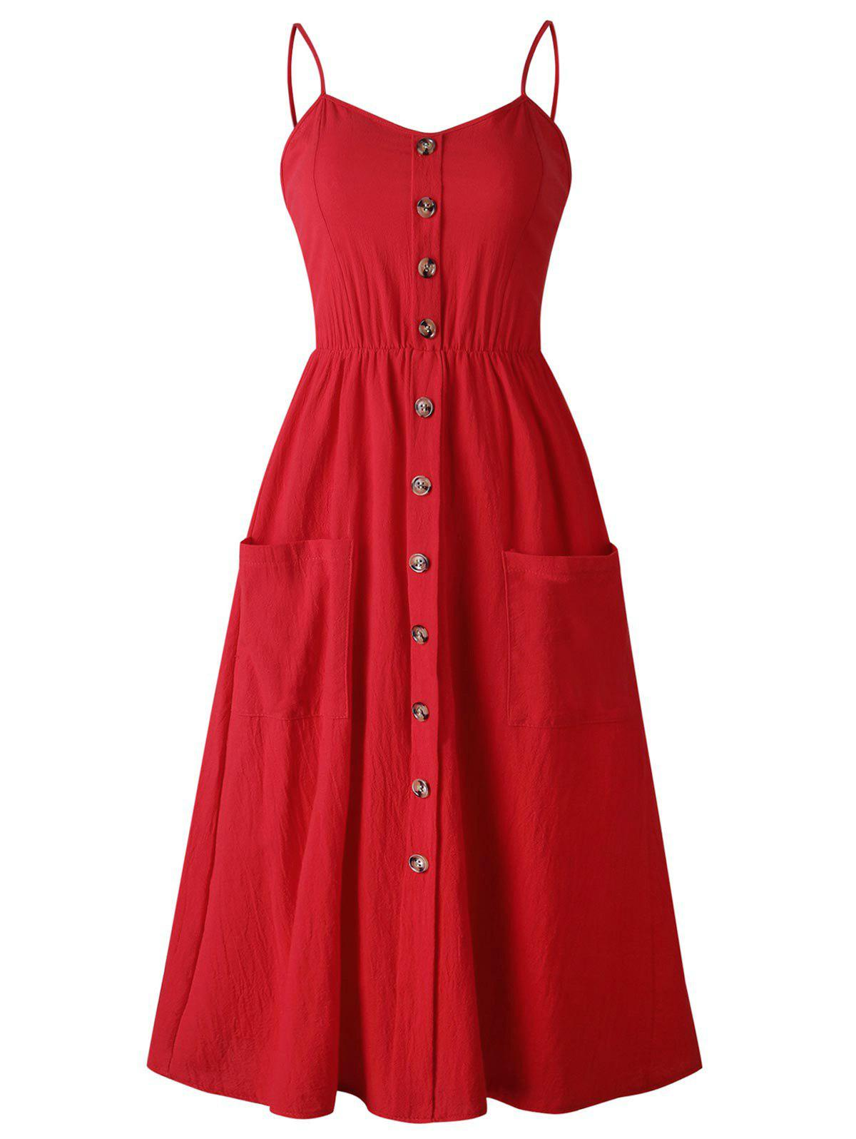 Unique Smocked Back Buttoned Cami Dress