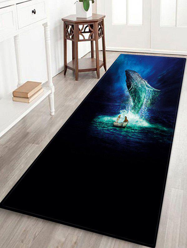 Ocean Whale Pattern Water Absorption Flannel Area Rug