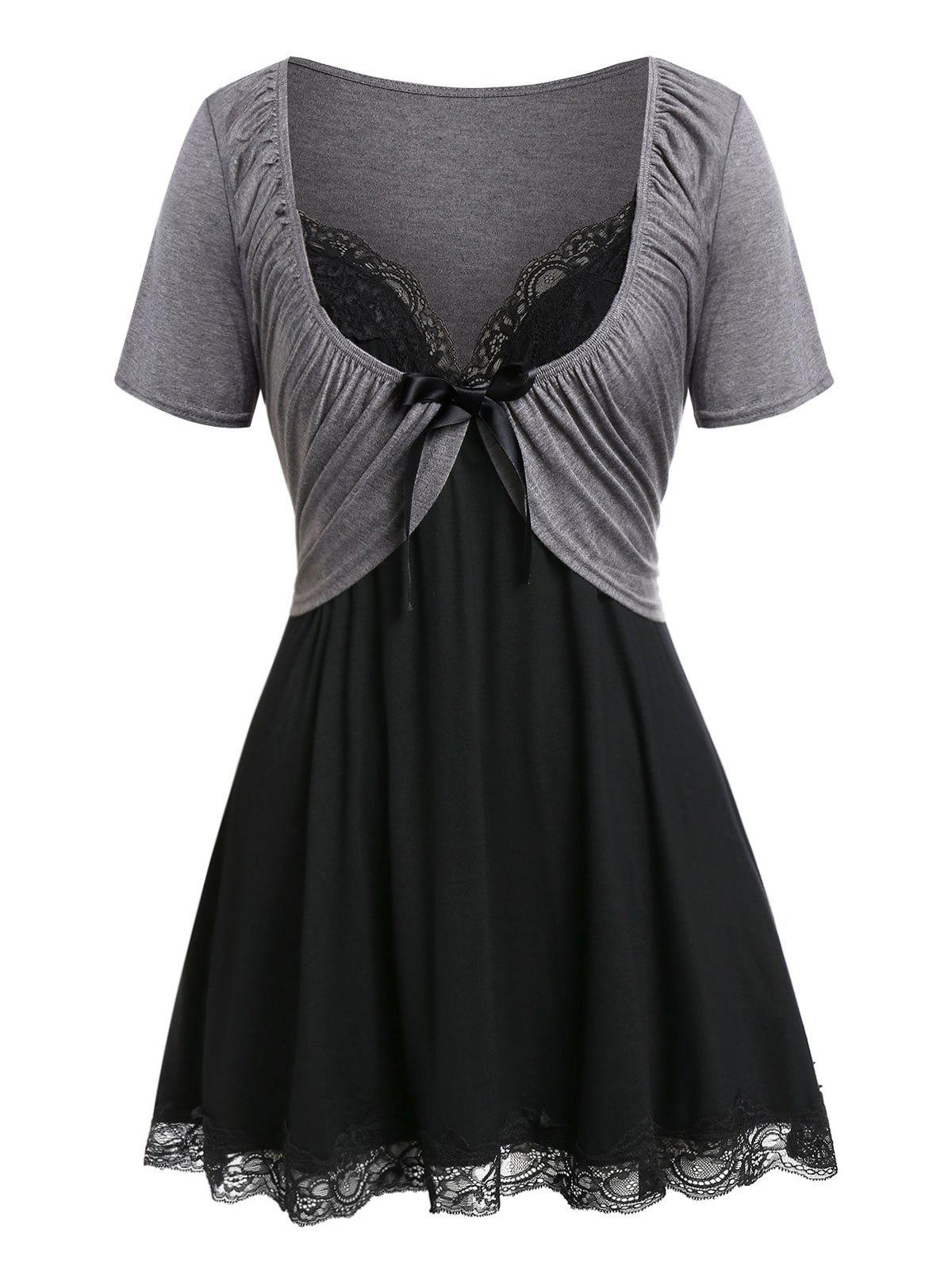 Latest Plus Size Pleated T Shirt with Lace Panel Tank Top