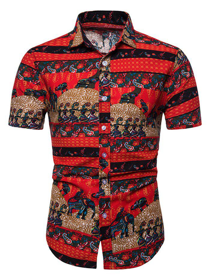 Outfit Tribal Printed Decoration Short Sleeves Shirt