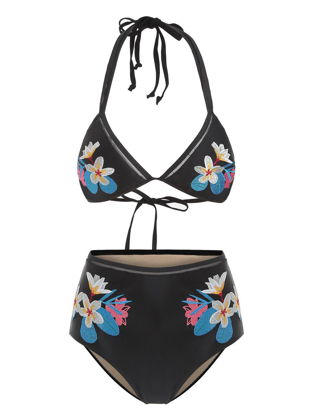 Shop Halter Tied Flower Embroidered Bikini Set