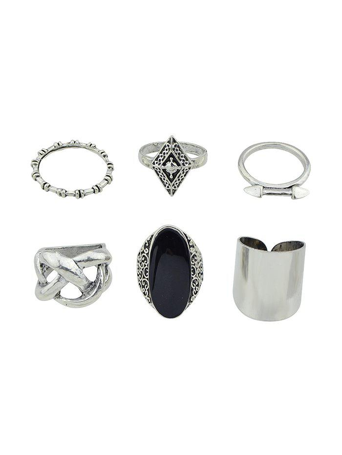 Trendy 6Pcs Vintage Geometric Engraved Ring Set