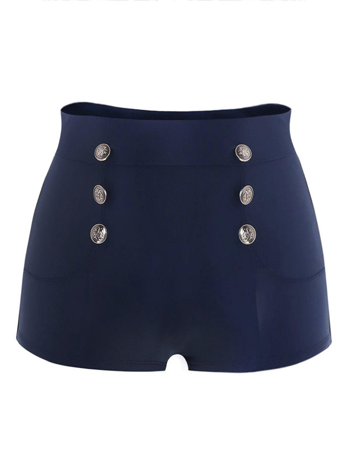 Store Plus Size High Waist Button Detail Swim Briefs