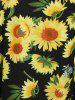 Plus Size Sunflower Print V Neck Dress -