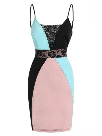 Lace Panel Color Block Cami Dress