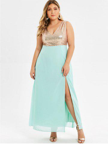 Plus Size Sequin High Slit Maxi Party Dress