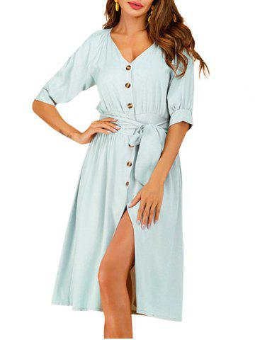 Plunging Button Up Knee Length Dress