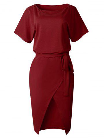 Front Slit Midi Fitted Dress