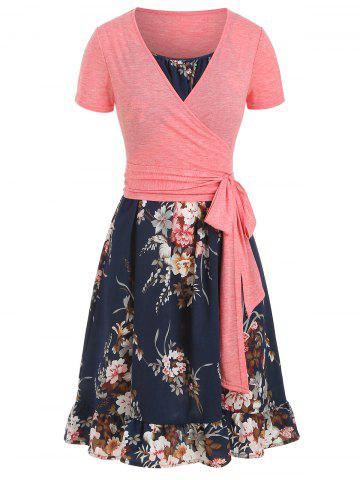 Flower Cami Dress with Plunging T-shirt