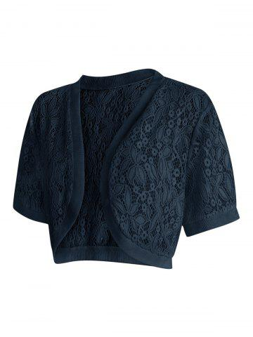 Lace Panel Plus Size Collarless Crop Top