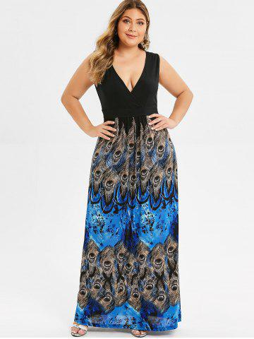 Surplice Plus Size Peacock Feather Maxi Dress