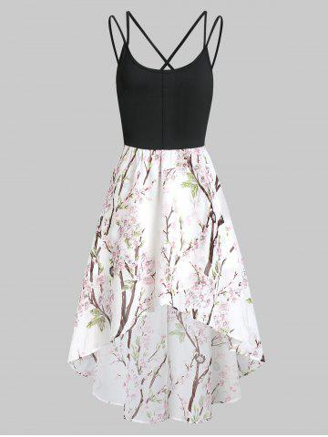 Floral Criss Cross Asymmetric Cami Dress
