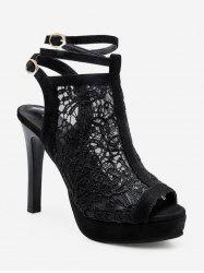 Lace Mesh Peep Toe High Heel Boots -
