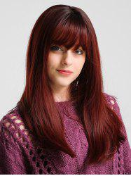 Long See-through Bang Solid Straight Synthetic Wig -
