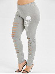 Skull Print Ripped Plus Size Leggings - Gris Clair 4X