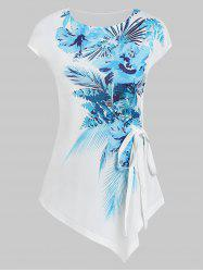 Printed Asymmetric Round Collar T Shirt with Tie -