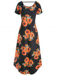 Floral V Back Pocket Dress -