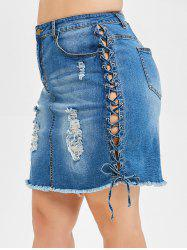 Plus Size Lace-up Ripped Frayed Denim Skirt -