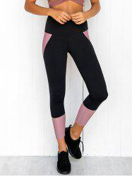 Two Tone Wide Waistband Sporty Leggings -