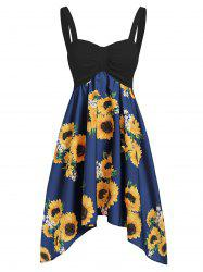 Asymmetric Sunflower Ruched Casual Dress -