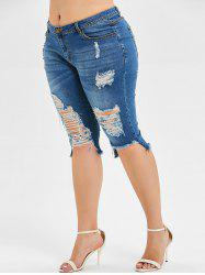 Plus Size Destroyed Denim Knee Shorts -
