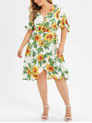 Plus Size Tie Floral Wrap Dress -