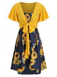 Knotted Top and Sunflower Overlap Dress Set -