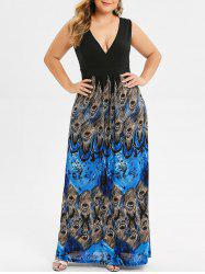 Surplice Plus Size Peacock Feather Maxi Dress -