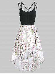 Floral Criss Cross Asymmetric Cami Dress -