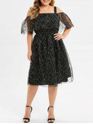 Plus Size Glitter Cold Shoulder Dress -