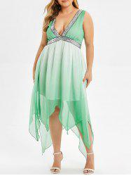 Plus Size Sequin Ombre Color Midi Dress -