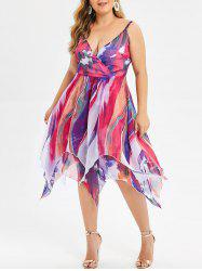 Tie Dye Layered Plus Size Handkerchief Dress -