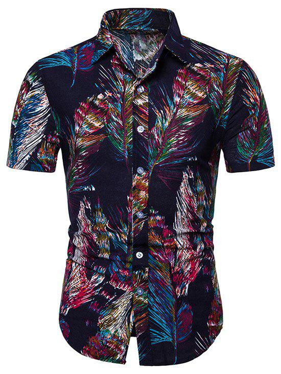 Shop Feather Printed Short Sleeves Shirt