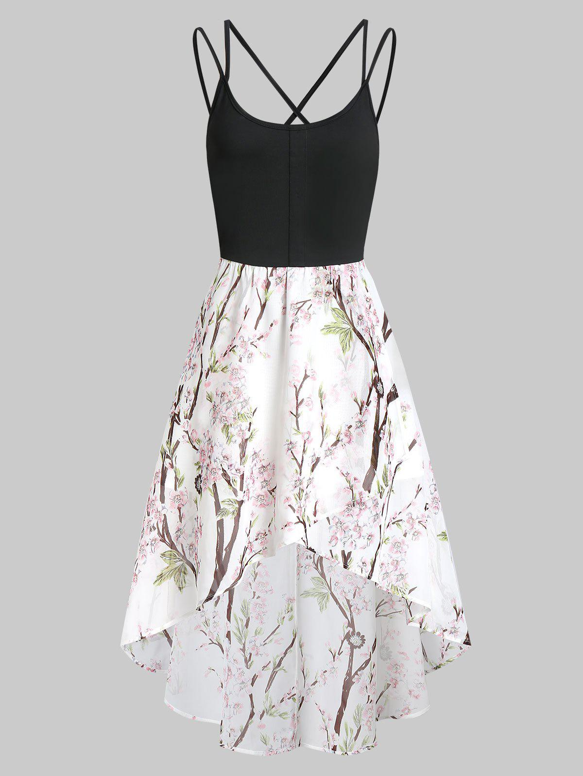 Outfit Floral Criss Cross Asymmetric Cami Dress