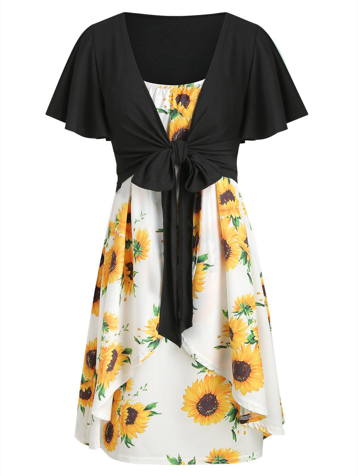 Outfits Knotted Top and Sunflower Overlap Dress Set