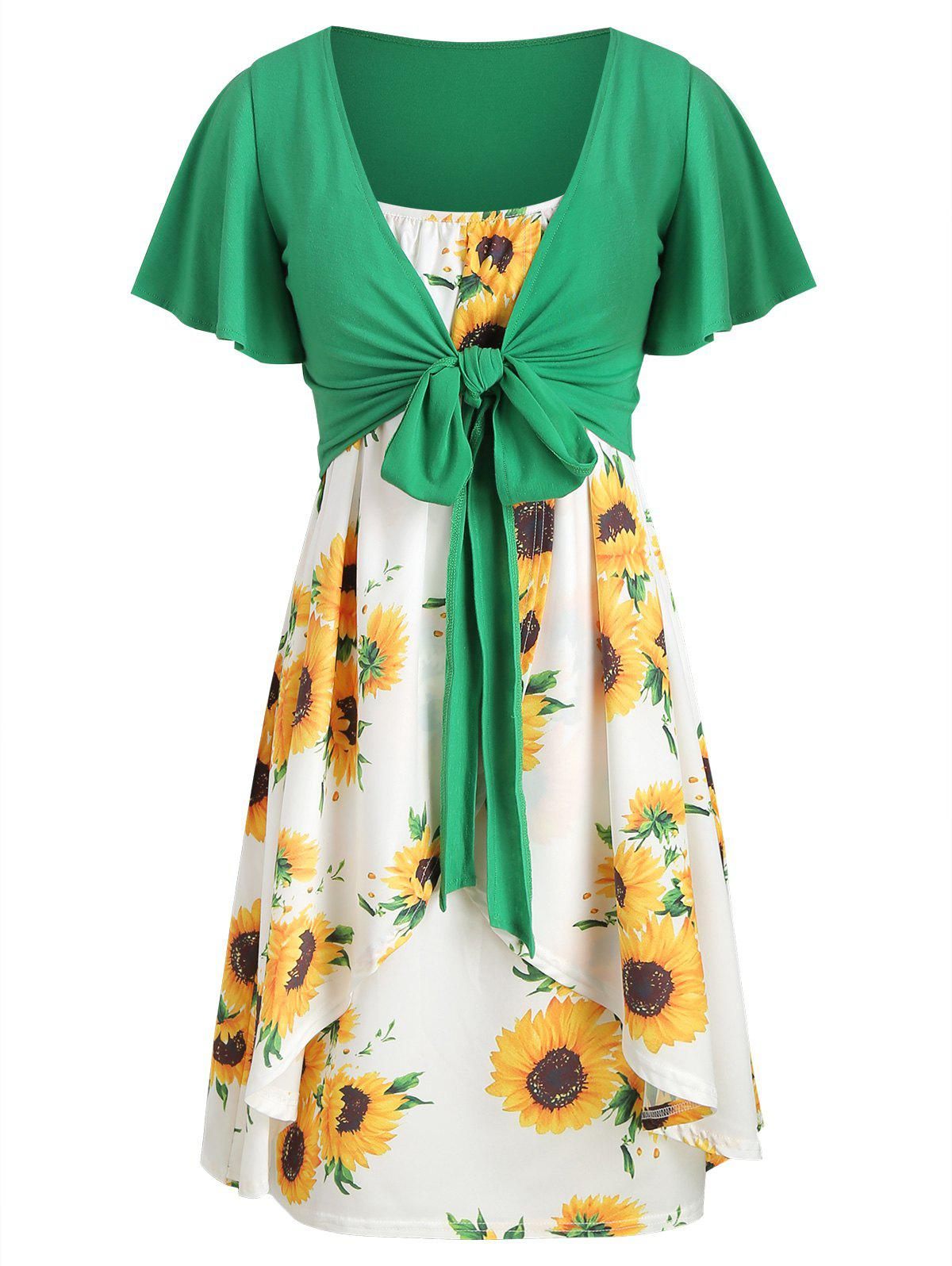 66fa783c222 28% OFF  Knotted Top And Sunflower Overlap Dress Set