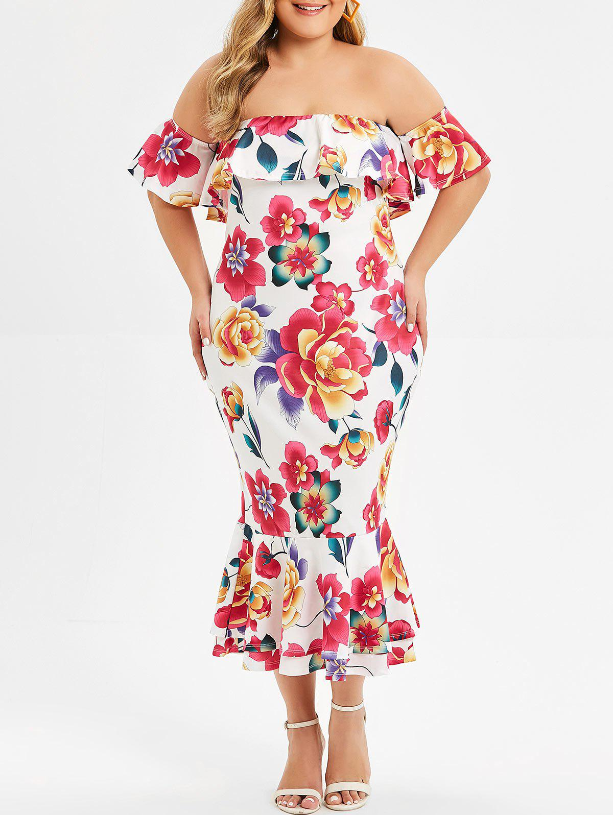 Cheap Floral Off Shoulder Mermaid Plus Size Dress