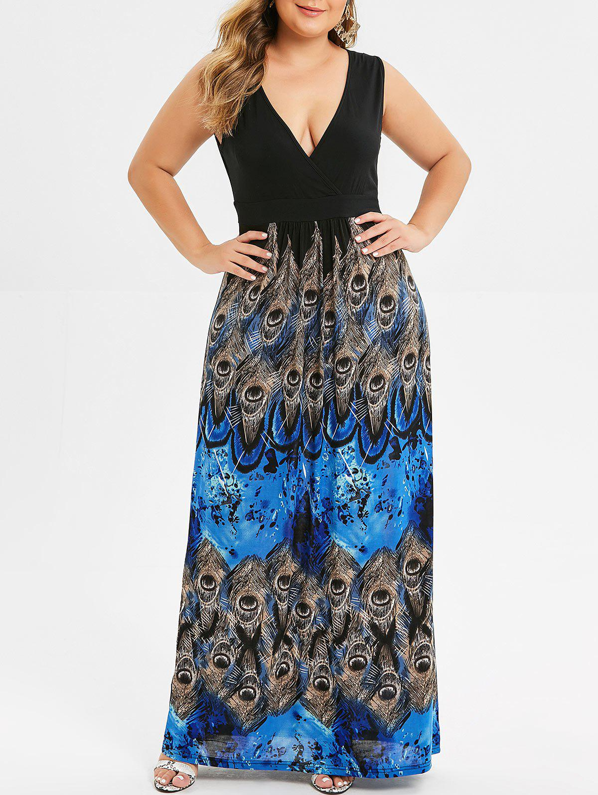 Chic Surplice Plus Size Peacock Feather Maxi Dress