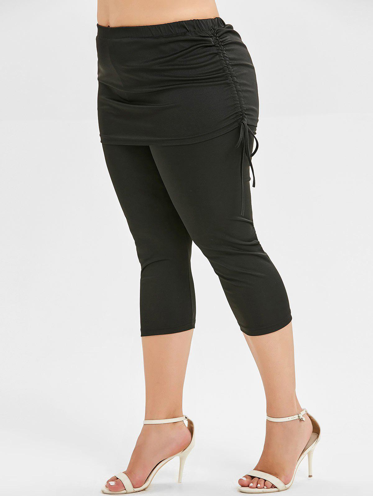 Cheap Plus Size Ruched Cropped Skirted Leggings